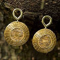 Gold accent golden grass dangle earrings, 'Sunbeams' - Brazilian Hand Crafted Golden Grass Dangle Earrings