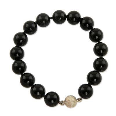 Brazilian Handmade Black Agate Beaded Bracelet