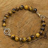 Gold vermeil tiger's eye beaded bracelet, 'Golden Gaze' - Handmade Gold Vermeil Brazilian Tiger's Eye Beaded Bracelet