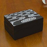 Wood decorative box, 'Ipanema Promenade' - Brazilian Artisan Crafted Decorative Box in Black and White