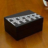 Wood decorative box, 'Lapa Arches' - Arcos da Lapa Decorative Wood Box in Black and White