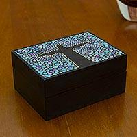 Wood decorative box, 'Azure Christ the Redeemer' - Blue Black Hand Painted Cristo Redentor Wood Decorative Box