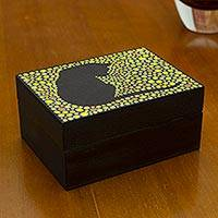 Wood decorative box, 'Yellow Feline Constellation' - Artisan Crafted Cat Theme Decorative Box in Black and Yellow