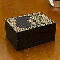Wood decorative box, 'Orange Feline Constellation' - Black Cat on Hand Painted Decorative Wood Box from Brazil