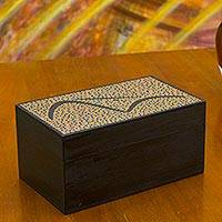 Wood tea box, 'Orange Sugarloaf Mountain' (small) - Artisan Crafted Tea Bags Box in Orange 2 Compartments