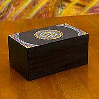 Wood tea box, 'Rainbow Mandala' (small) - Multicolor Hand Painted Wood Tea Box with Compartments