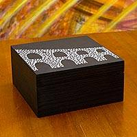 Wood tea box, 'Lapa Arches' (medium) - Black and White Brazilian Landmark on Wood Tea Box (Medium)
