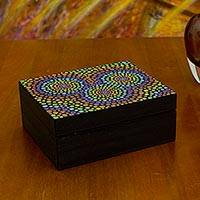 Wood jewelry box, 'Multicolor Mandalas' - Rainbow colours Artisan Crafted Wood Box Painted by Hand