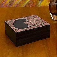 Wood jewelry box, 'Crimson Feline Constellation' - Cat on Red Handmade Wood Jewelry Box with 6 Compartments