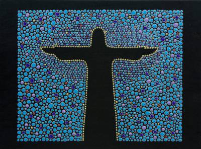 Wood wall art, 'Azure Christ the Redeemer' - Cristo Redentor on Blue Hand Painted Wood Wall Art Panel