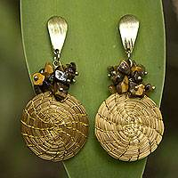 Tiger's eye and golden grass dangle earrings, 'Warm Beauty' - Hand Crafted Brazilian Tiger Eye and Golden Grass Earrings