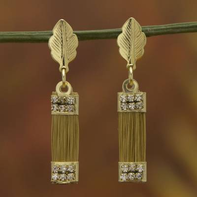 Gold plated golden grass dangle earrings, 'Golden Leaves' - Brazilian Golden Grass Earrings with Gold Plated Accents