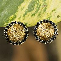 Gold plated golden grass button earrings, 'Halo' - Brazilian Golden Grass and Rhinestone Button Earrings