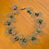 Agate choker necklace, 'Amazon Butterfly' - Artisan Crafted Crocheted Choker Necklace with Green Agate
