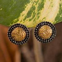 Gold plated golden grass button earrings,