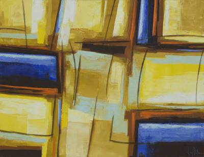 'Basic Constructive Sense III' - Blue and Yellow Painting Abstract Geometry from Brazil