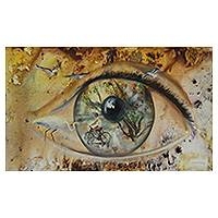 'The Artist's Gaze' - Surreal Human Eye Brazilian Mixed Media Painting