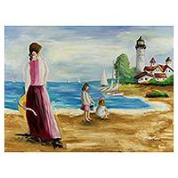 'Games on the Beach II' - Original Signed Romantic Brazilian Seascape Painting