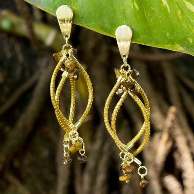 Gold plated tiger's eye and golden grass dangle earrings, 'Goldenrod' - Hand Crafted Brazilian Tiger Eye and Golden Grass Earrings