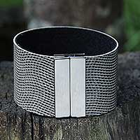 Wristband bracelet, 'Urban Hypnotic' - Black and White Faux Leather Wristband Bracelet from Brazil
