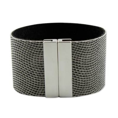 Black and White Faux Leather Wristband Bracelet from Brazil