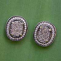 Brazilian drusy agate button earrings, 'Glamorous' - Brazilian Drusy Agate and Silver Round Earrings with CZ