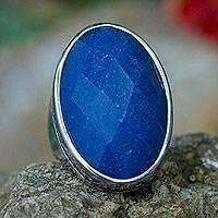 Quartz cocktail ring, 'Sparkling Halo' - Artisan Crafted Blue Quartz and CZ Silver Cocktail Ring