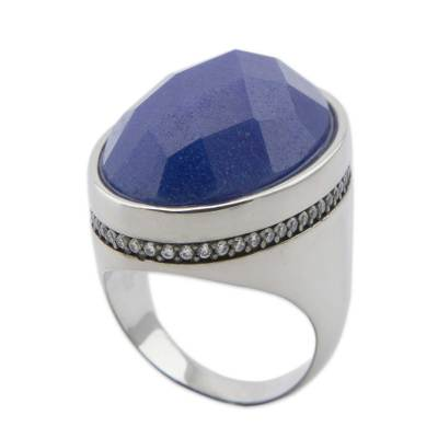 Artisan Crafted Blue Quartz and CZ Silver Cocktail Ring