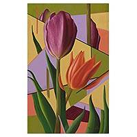 'Tulips' - Purple and Orange Tulips Signed Flower Painting from Brazil