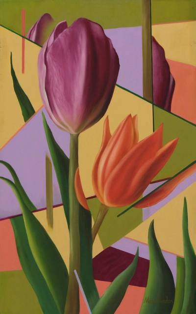 Purple and Orange Tulips Signed Flower Painting from Brazil