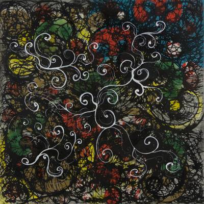 Colorful Brazilian Signed Abstract Expressionist Painting