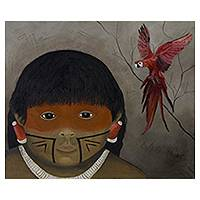'Xingu Child' - Portrait of Amazonian Boy Mixed Media Signed Painting