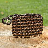 Soda pop-top coin purse, 'Bronze Hope and Change' - Hand Crocheted Soda Pop Top Coin Purse in Brown Bronze