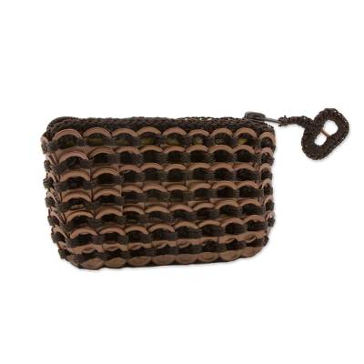 Hand Crocheted Soda Pop Top Coin Purse in Brown Bronze