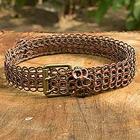 Soda pop-top belt, 'Brown Bronze Armor Chain Mail' - Eco Chic Artisan Crafted Soda Poptop Belt Bronze Brown
