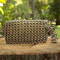 Soda pop-top wristlet bag, 'Copper Bronze Eco Chic' - Hand Crocheted Recycled Soda Pop-top Wristlet Bag