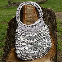 Soda pop-top evening bag, 'Silver Waterfall' - Eco Chic Artisan Crafted Soda Pop-top Evening Bag