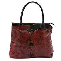 Leather shoulder bag, 'Red Cobra' - Handcrafted Red Snake Print Brazilian Leather Shoulder Bag