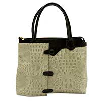 Leather shoulder bag, 'Amazon Lady' - Handcrafted Brazilian Embossed Beige Leather Shoulder Bag