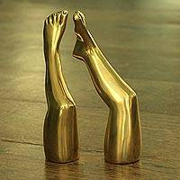 Bronze sculptures, 'Elevate' (pair) - Pair of Signed Bronze Leg Sculptures from Brazil