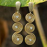 Gold plated golden grass dangle earrings, 'Sparkle and Swirl' - Gold Plated Brazilian Golden Grass and Rhinestone Earrings