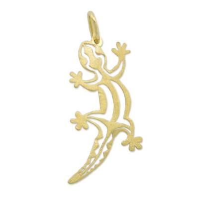 Artisan Crafted Gold Lizard Pendant from Brazil