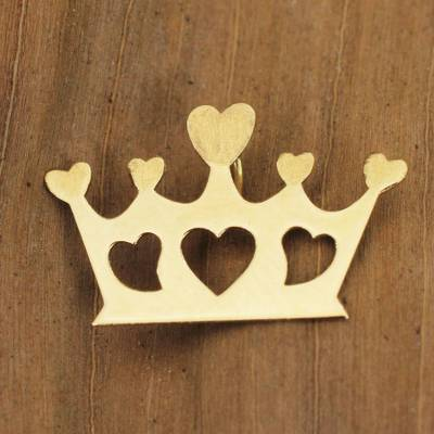 Gold brooch pendant, 'Crown of Hearts' - Artisan Crafted Gold Pendant or Brooch Pin from Brazil