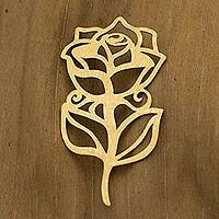 Gold pendant, 'A Rose' - 18k Gold Artisan Crafted Pendant from Brazil