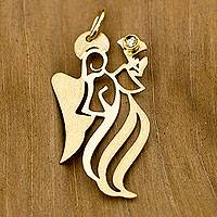 Diamond pendant, 'Archangel Gabriel' - Gold Artisan Crafted Brazil Angel Pendant with a Diamond