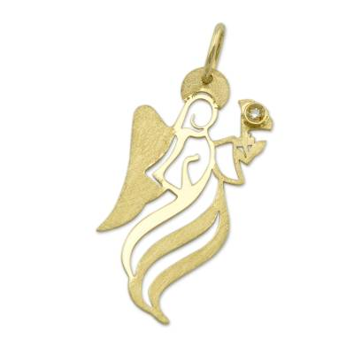 Gold Artisan Crafted Brazil Angel Pendant with a Diamond