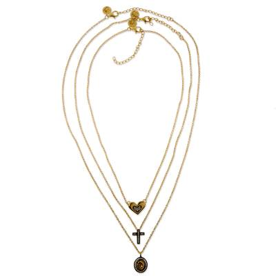 Gold Plated Drusy Agate Heart and Cross Necklaces (Set of 3)