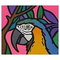 'Tropical Macaw' - Amazon Macaw Bird Pop Art Style Signed Painting from Brazil