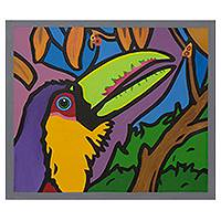 'Tropical Toucan' - Colorful Brazilian Toucan Painting Signed Modern Pop Art