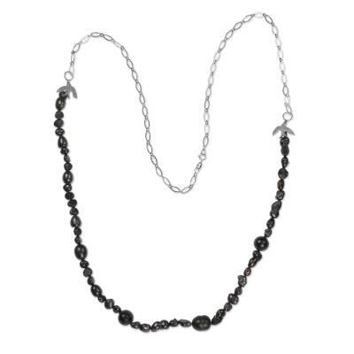 Black Cultured Pearl Silver Handcrafted Brazilian Necklace